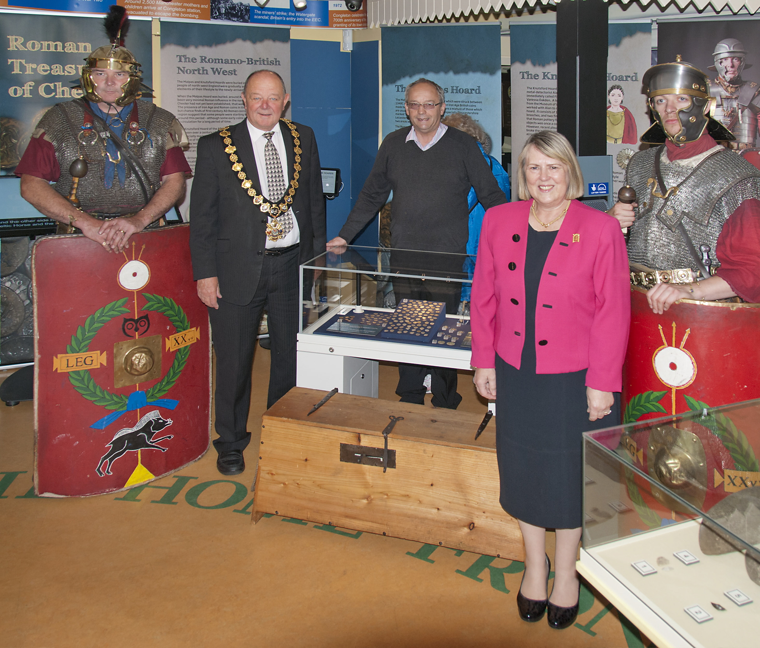 Opening of the Hoards Exhibition with centurions from the Deva Victrix, Cllr D Brown (Mayor) Ian Doughty (Chair Museum Trust) Fiona Bruce MP - Photo Chris Sheard